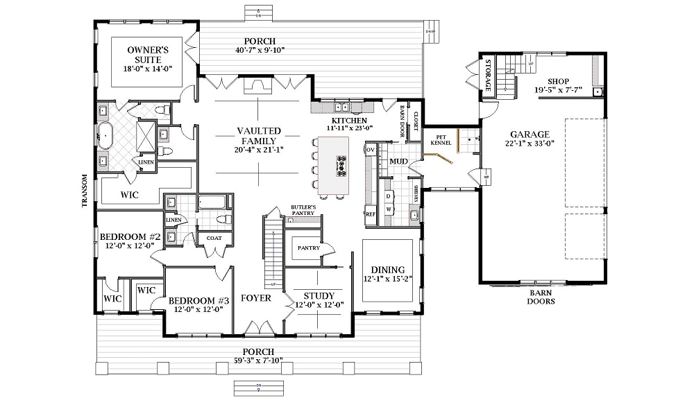 First Floor image of Featured House Plan: BHG - 7071