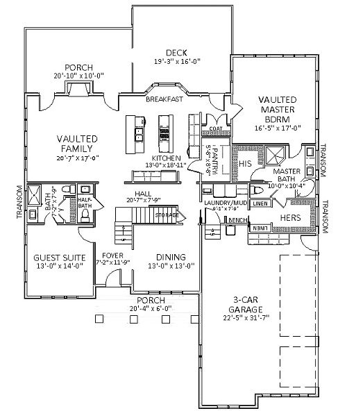 1st Floor image of Featured House Plan: BHG - 6124