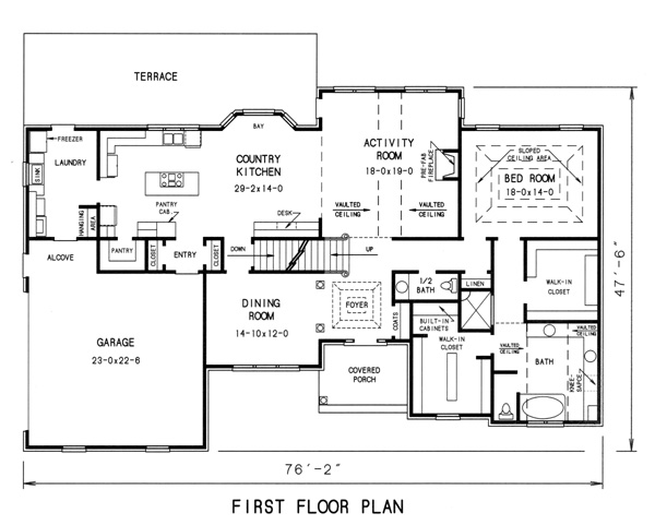 1st floor plan image of Featured House Plan: BHG - 7762