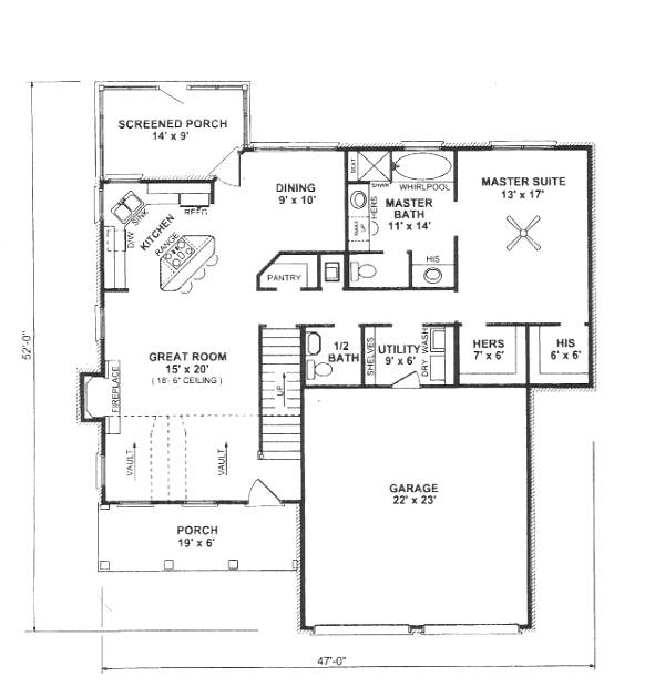 First Floor Plan image of Featured House Plan: BHG - 5924