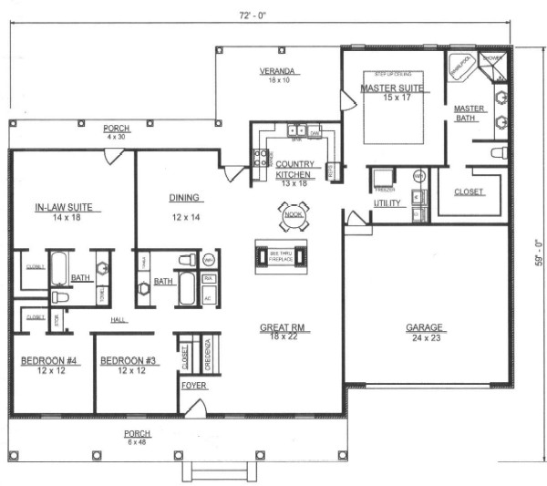First Floor Plan image of Featured House Plan: BHG - 7802