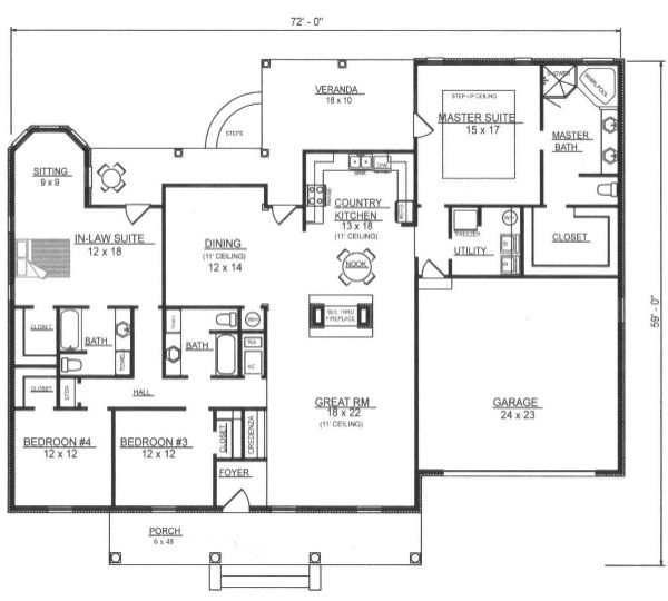 First Floor Plan image of Featured House Plan: BHG - 7803