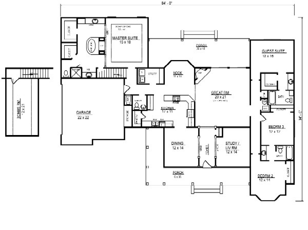 First Floor Plan image of Featured House Plan: BHG - 8946