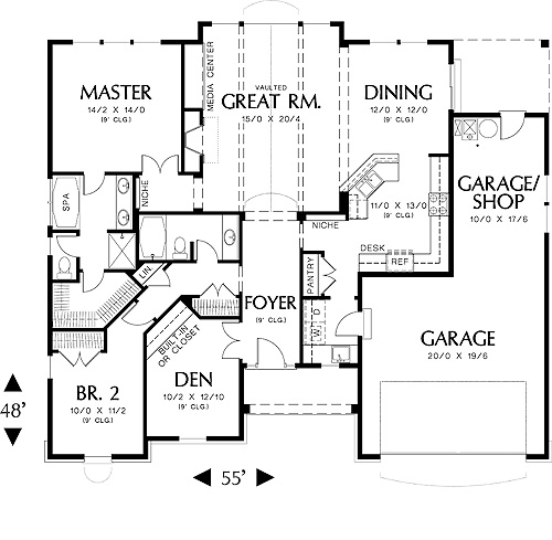 First Floor Plan image of Featured House Plan: BHG - 4582