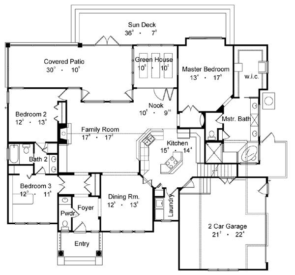First Floor Plan image of Featured House Plan: BHG - 4176