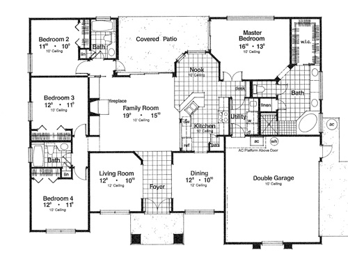 First Floor Plan image of Featured House Plan: BHG - 3994