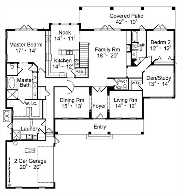 First Floor Plan image of Featured House Plan: BHG - 4147