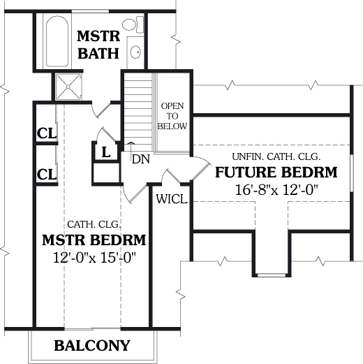 Second Floor Plan image of Featured House Plan: BHG - 3772
