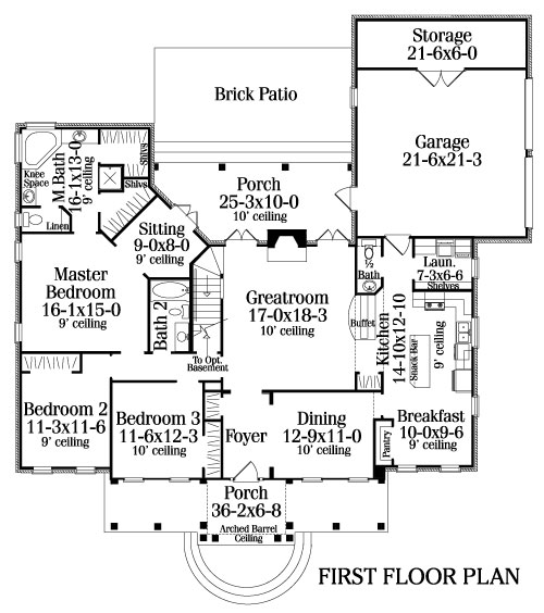 Floor Plan image of three-bedroom country house plan