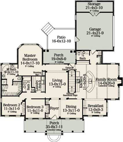First Floor Plan image of Featured House Plan: BHG - 4580