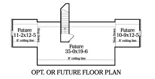 Optional or Future Floor Plan image of three-bedroom country house plan