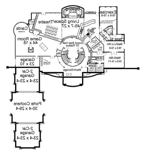 Basement Floor Plan image of Featured House Plan: BHG - 6047