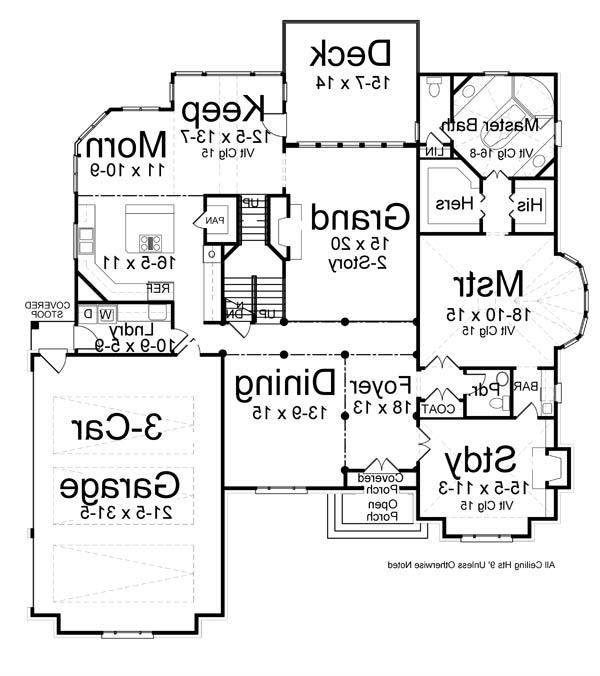 1st Floor Plan image of Featured House Plan: BHG - 7219