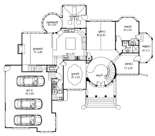 1st Floor Plan image of Featured House Plan: BHG - 8216