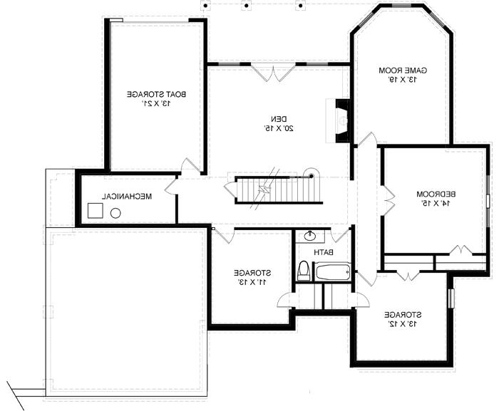 Basement Floor Plan image of Featured House Plan: BHG - 7974