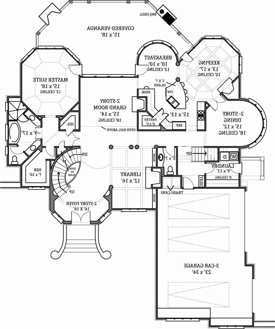 1st Floor Plan image of Featured House Plan: BHG - 7805