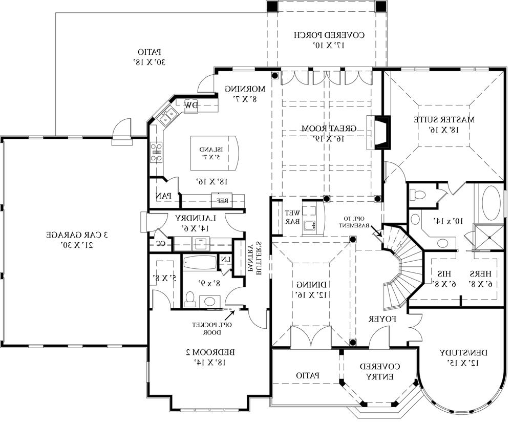 1st Floor Plan image of Featured House Plan: BHG - 4529