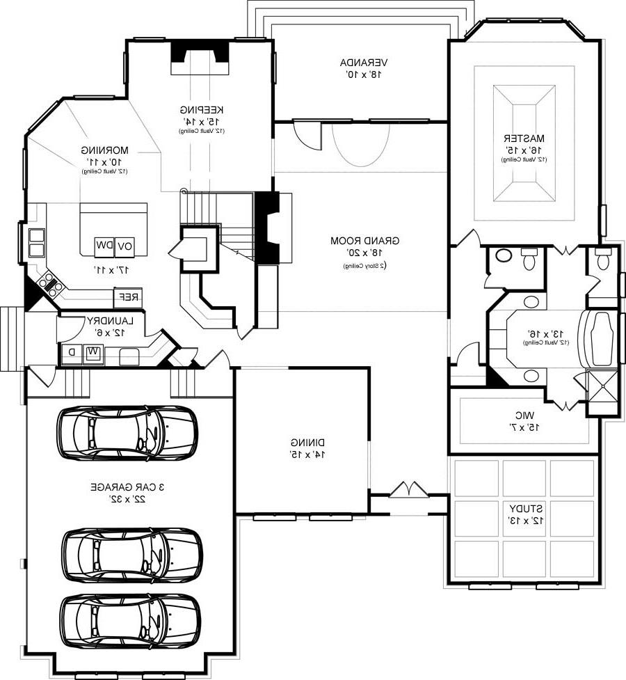 First Floor Plan image of Featured House Plan: BHG - 6158