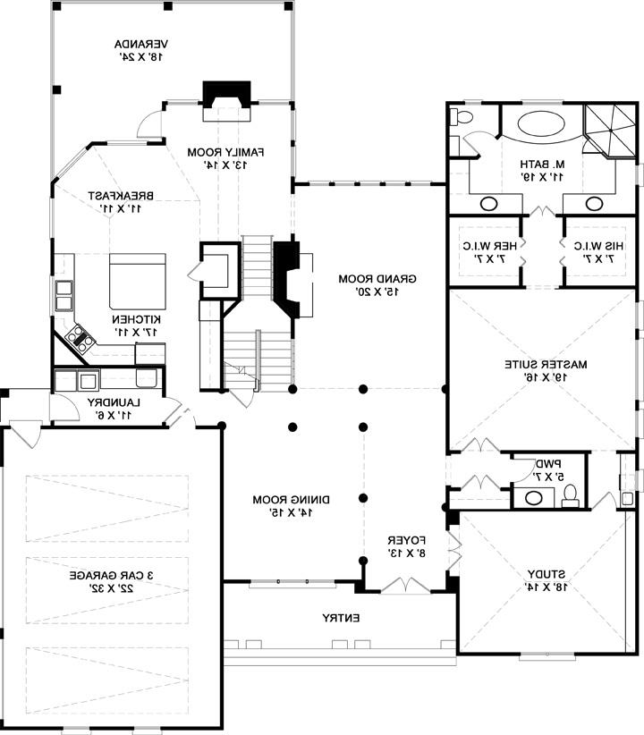 First Floor Plan image of Featured House Plan: BHG - 6159