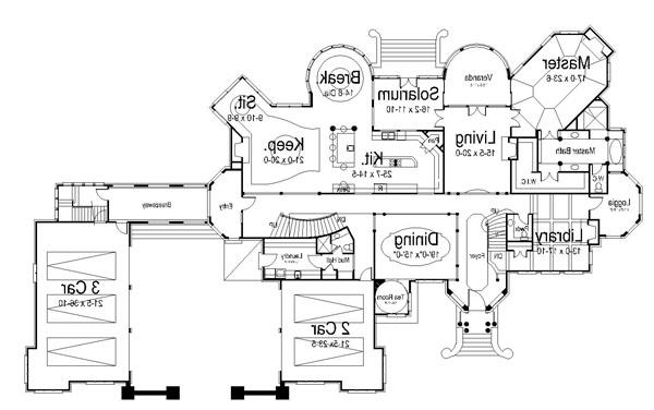 1st Floor Plan image of Featured House Plan: BHG - 6040