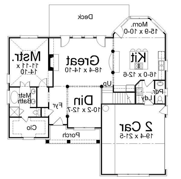 1st Floor Plan image of Featured House Plan: BHG - 6872
