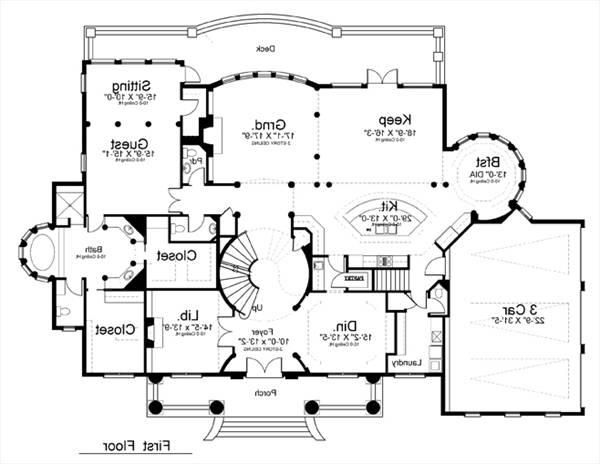 1st Floor Plan image of Featured House Plan: BHG - 8079