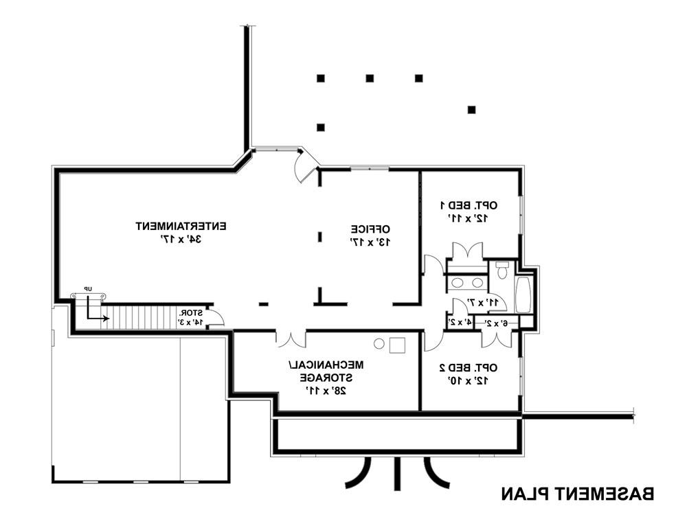Basement Floor Plan image of Featured House Plan: BHG - 7696