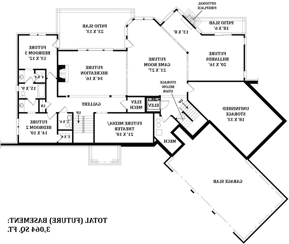 Basement image of Featured House Plan: BHG - 4673