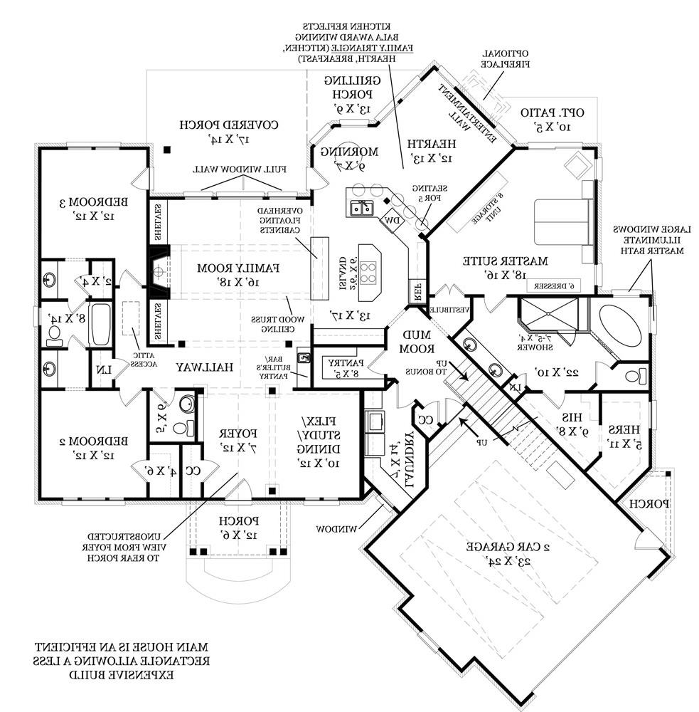 First Floor Plan image of Featured House Plan: BHG - 4509