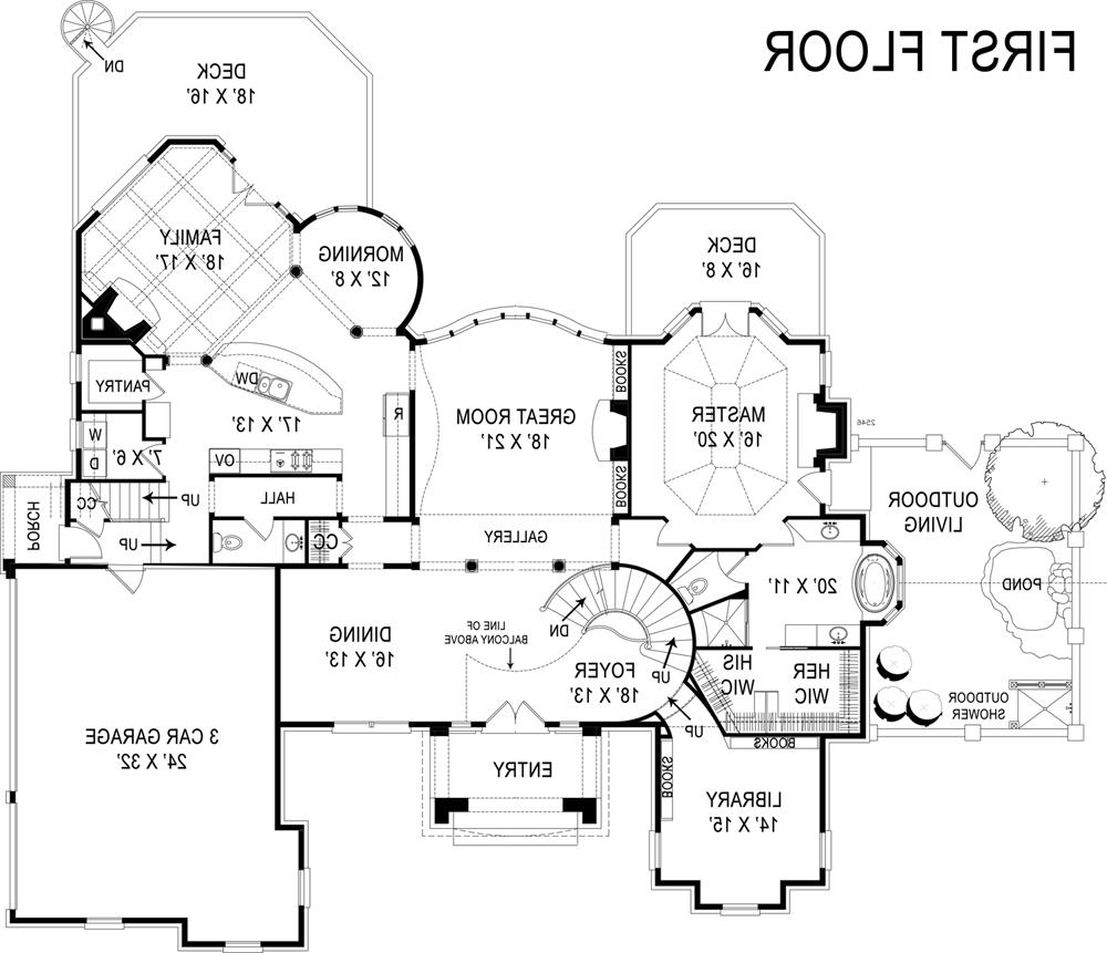 1st Floor Plan image of stately four-bedroom house plan
