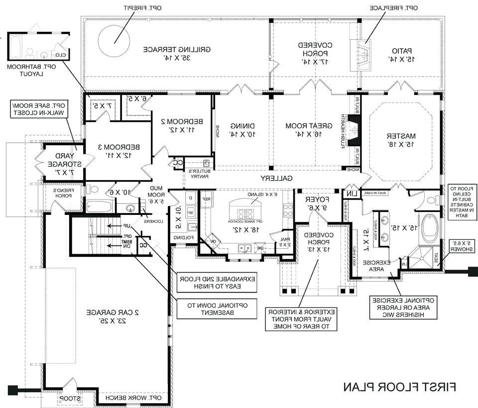 First Floor Plan image of Featured House Plan: BHG - 5215
