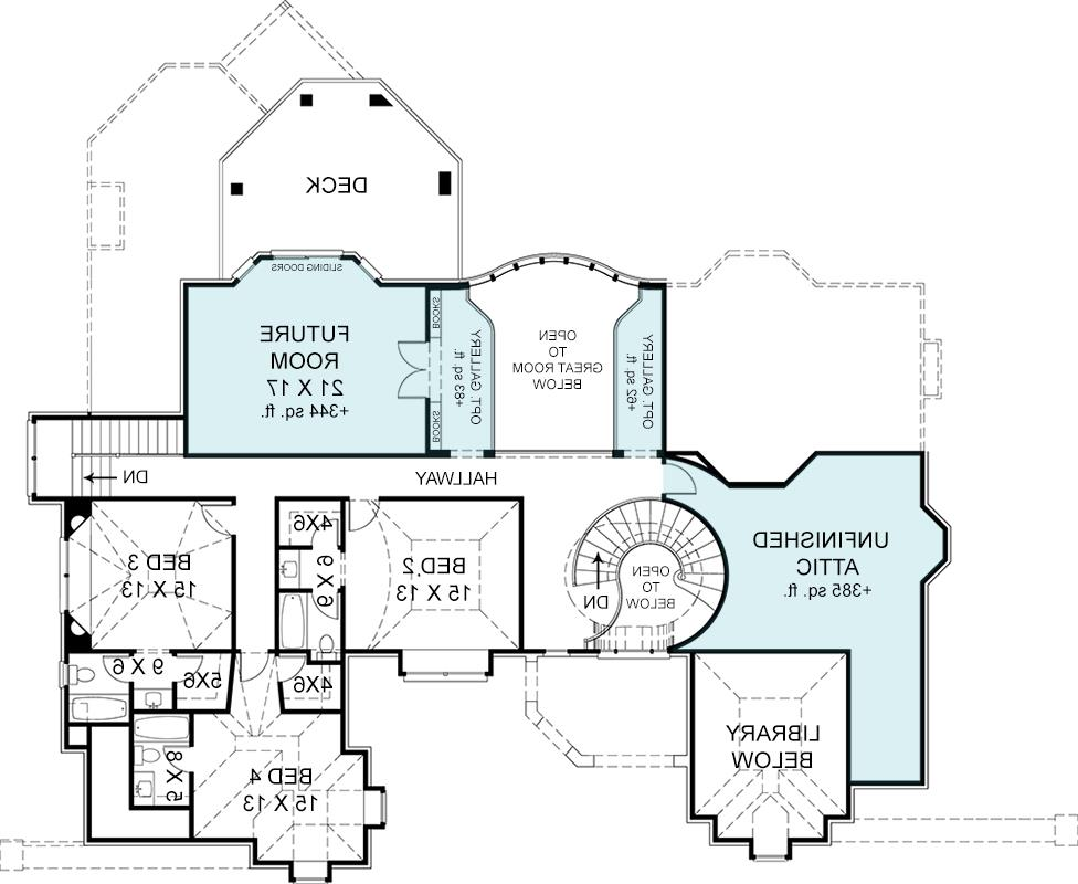 Second Floor Plan image of stately two-story house plan