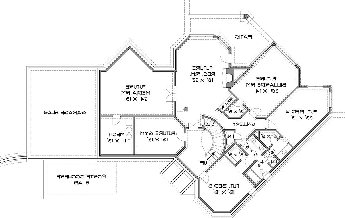 Basement image of historic four-bedroom house plan