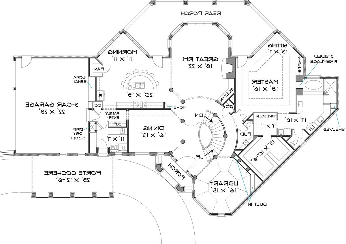 First Floor Plan image of Featured House Plan: BHG - 6001