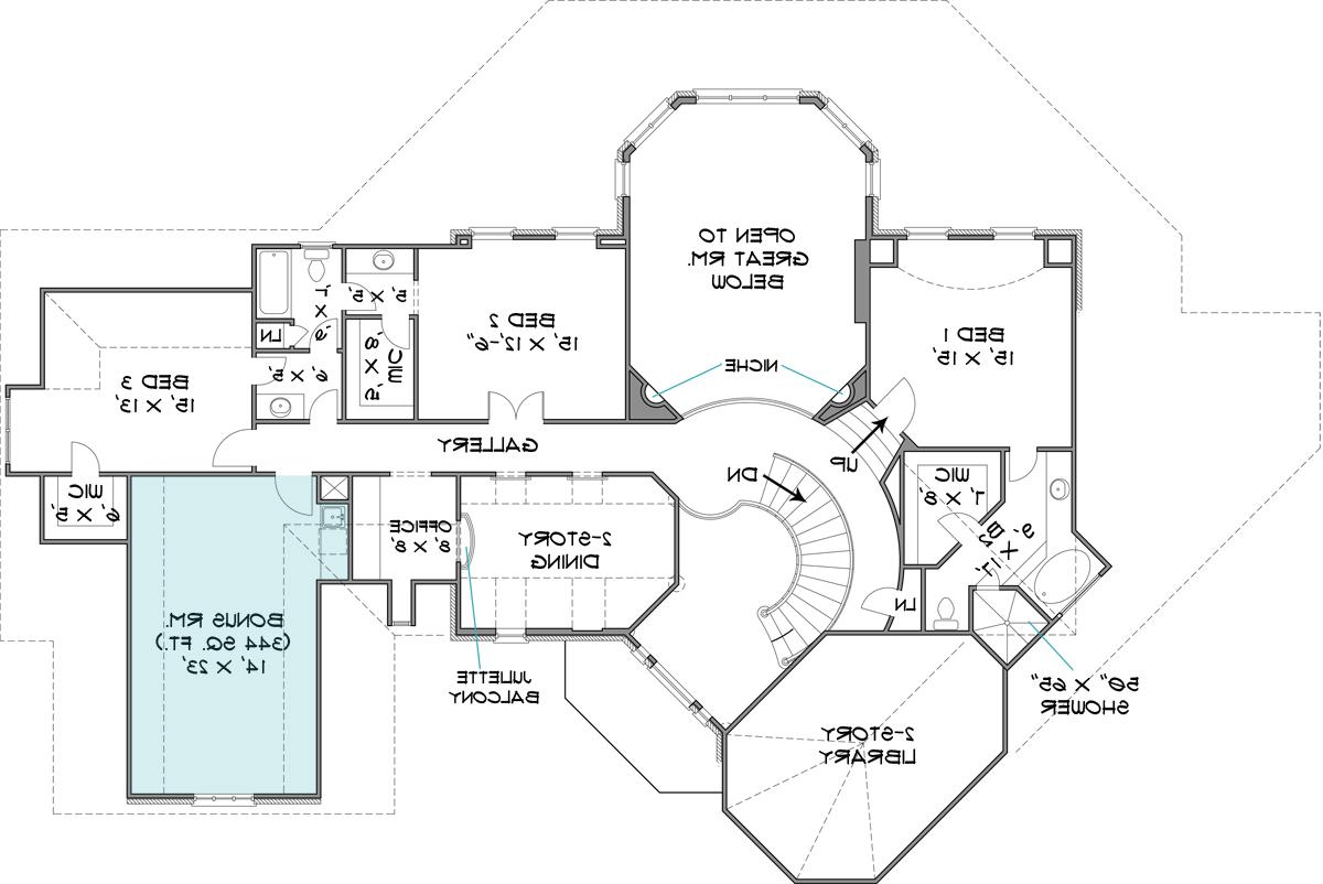 Second Floor Plan image of historic four-bedroom house plan