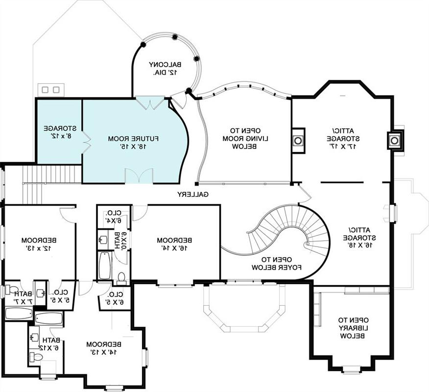 2nd Floor Plan image of stately four-bedroom house plan