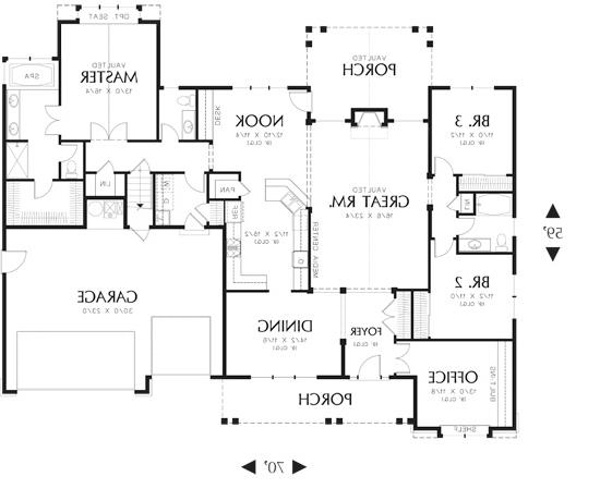 First Floor Plan image of Featured House Plan: BHG - 6107
