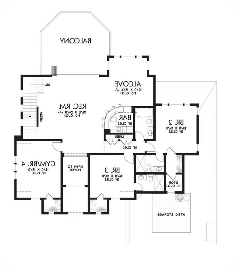 Upper Floor Plan image of Featured House Plan: BHG - 6056