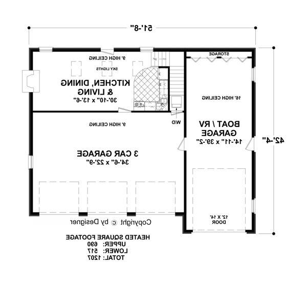 Lower Floorplan image of Featured House Plan: BHG - 3348