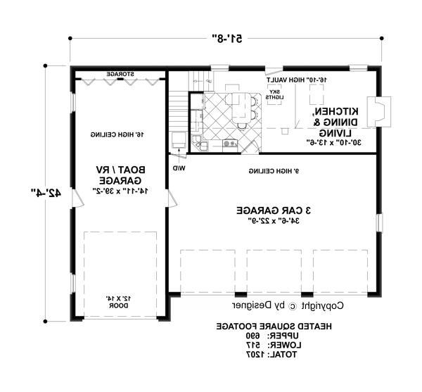 Lower Floorplan image of Featured House Plan: BHG - 3328