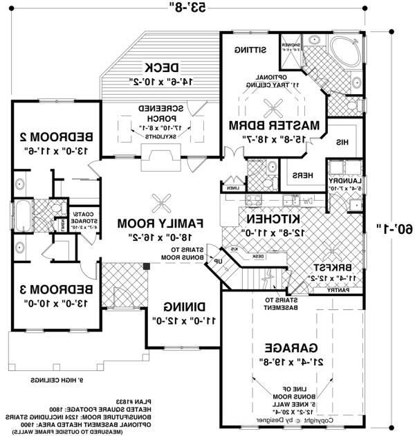 Main Level Floor Plan image of Featured House Plan: BHG - 8448