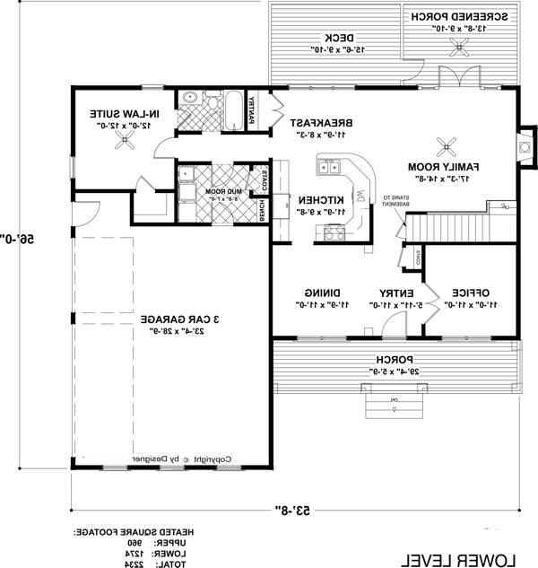 Lower Level Floorplan image of Featured House Plan: BHG - 6482