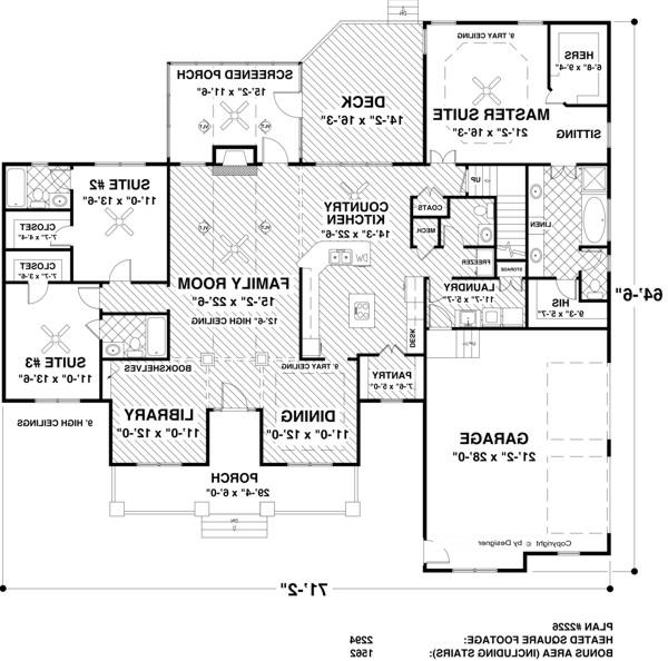 Main Level Floor Plan image of Featured House Plan: BHG - 4208