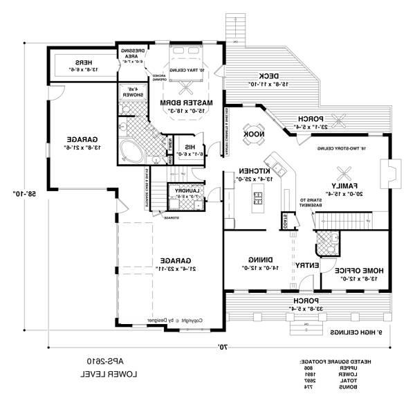 Lower Level Floorplan image of Featured House Plan: BHG - 1033
