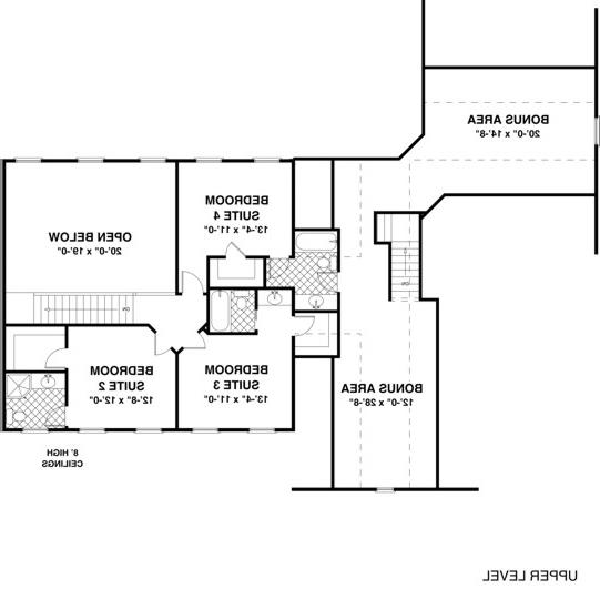 Upper Level Floorplan image of Featured House Plan: BHG - 1034