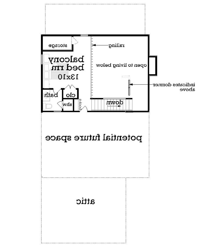 Upper level floor plan image of Featured House Plan: BHG - 2050