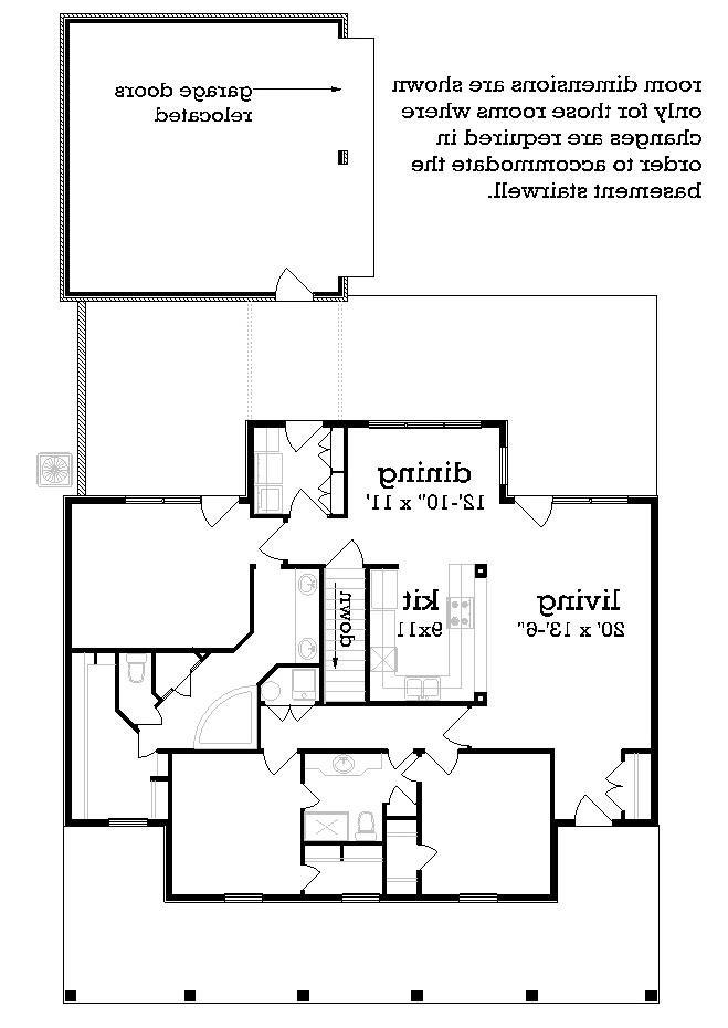 Main Level Stair Location with optional basement image of Featured House Plan: BHG - 3064