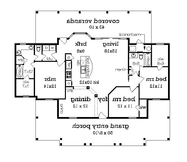 Floor plan with 3rd bedroom (included) image of Featured House Plan: BHG - 4745