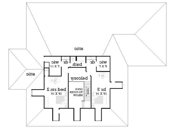 Upper level floor plan image of Featured House Plan: BHG - 5288