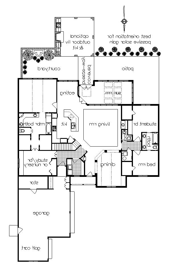 ML floor plan with optional outdoor living image of Featured House Plan: BHG - 4746